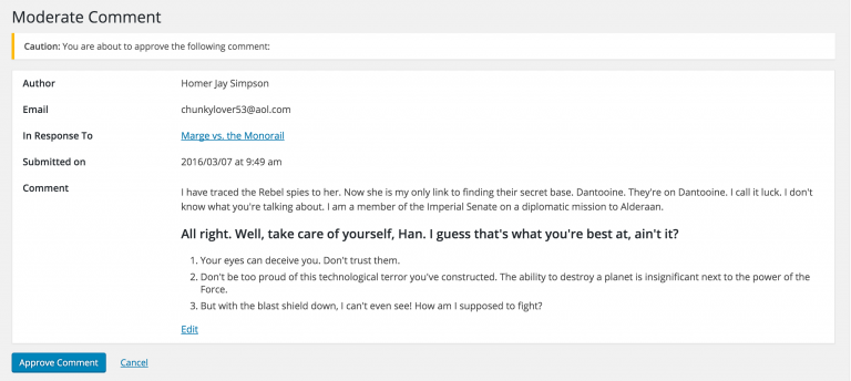 WordPress 4.5 comment section after