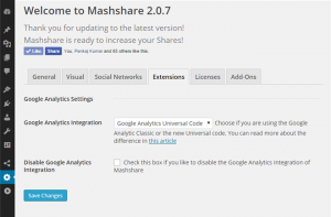 Seamless Integration of MashShare into Google Analytics
